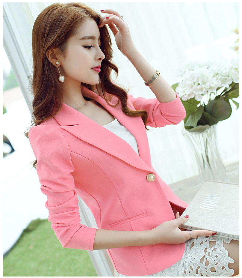 Free Shipping 2019 Summer New Fashion Large Size Women's Candy Color Small Jacket Women Short Suit Blazer Women,S M L XL 2XL