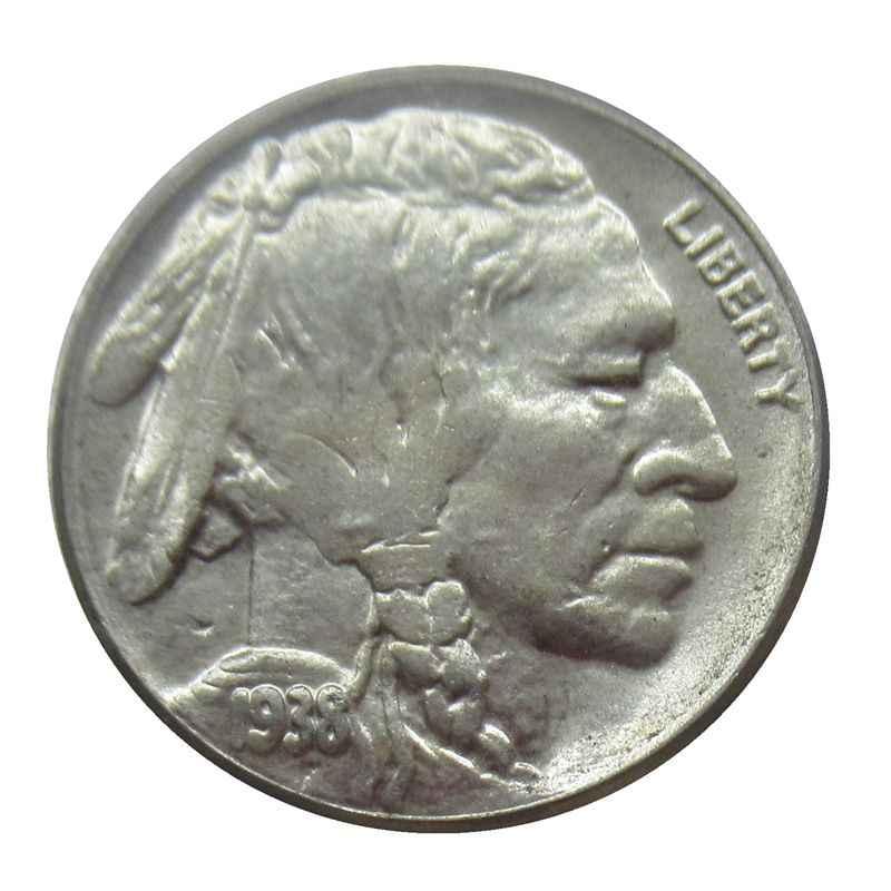С гравировкой в виде американского бизона из никеля пять центов 1938 D США индийская голова 5 центов копия декоративные монеты