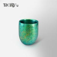 Чистый титановый двойной настенный стакан японский подарок зеленый вакуумный стакан для воды пиво, кофе, чай Саке Tikungfu Горячая продажа Бесп