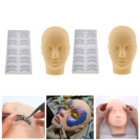 Durable Training Head Mannequin, 2Pcs Make up & Eyelash Extensions Practice Flat Heads + 20 Pairs Artificial Eye Lashes