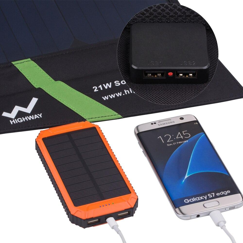 PowerGreen Bolsa de energía solar plegable de 21 vatios Carga - Accesorios y repuestos para celulares - foto 3