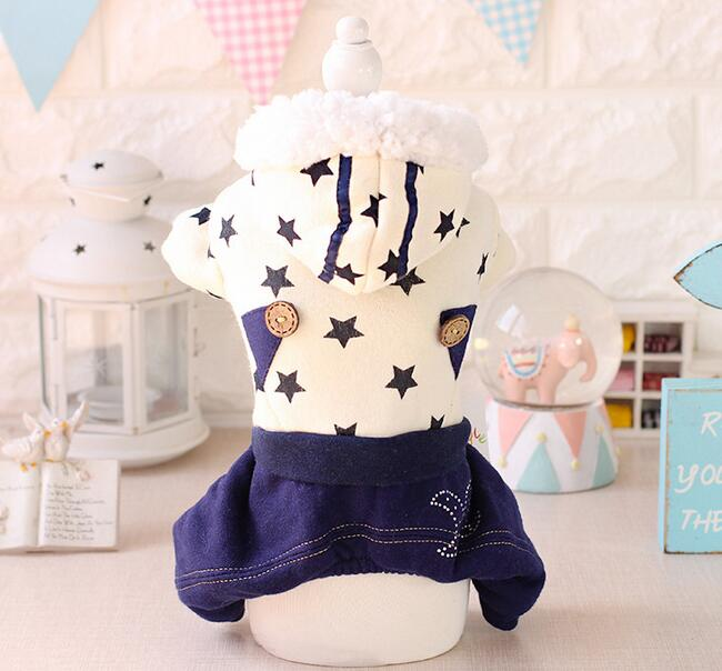 2016 new pet dog cat star printed jumpsuits clothes doggy autumn winter tracksuits costume puppy overcoat dogs cats coats 1pcs