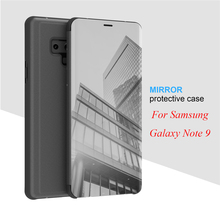 Note9 Mirror Flip Case For Samsung Galaxy Note 9 Luxury Clear View PU Leather Cover for