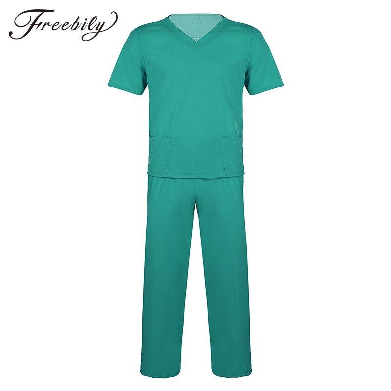 Unisex Adult Hospital Doctor Nurse Scrubs Uniform Suits Short Sleeves Tops With Long Pants Medical Service Costume Set