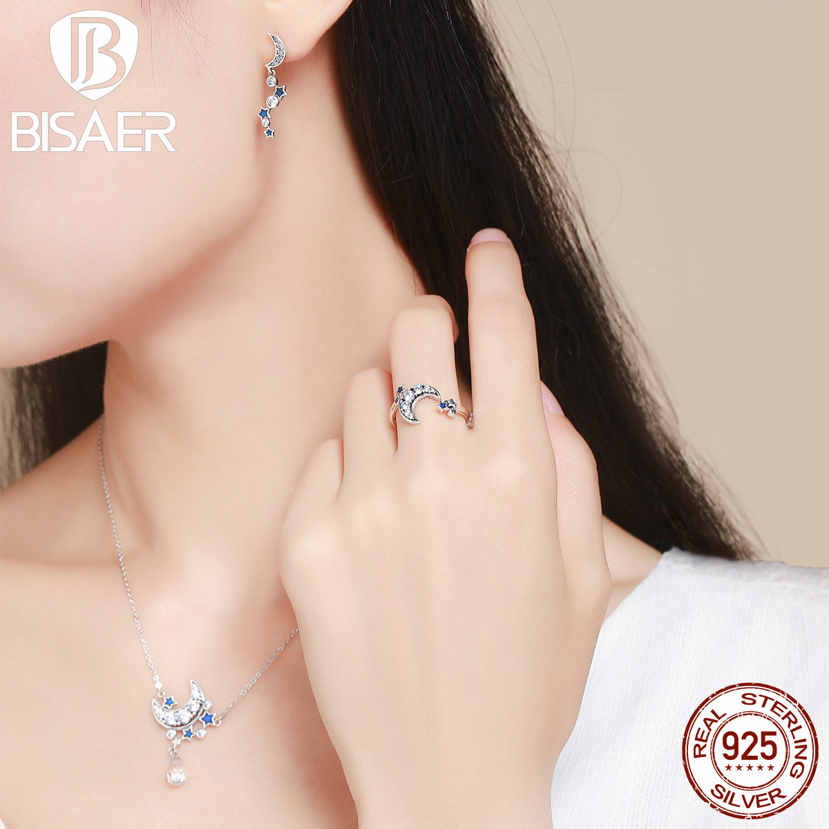 Fashion 925 Sterling Silver Dazzling CZ, Moon & STARS Pendant Necklace & Stud Earrings & Ring Sterling Silver Jewelry WES040 ying vahine 925 sterling silver jewelry shiny stars pendant necklace