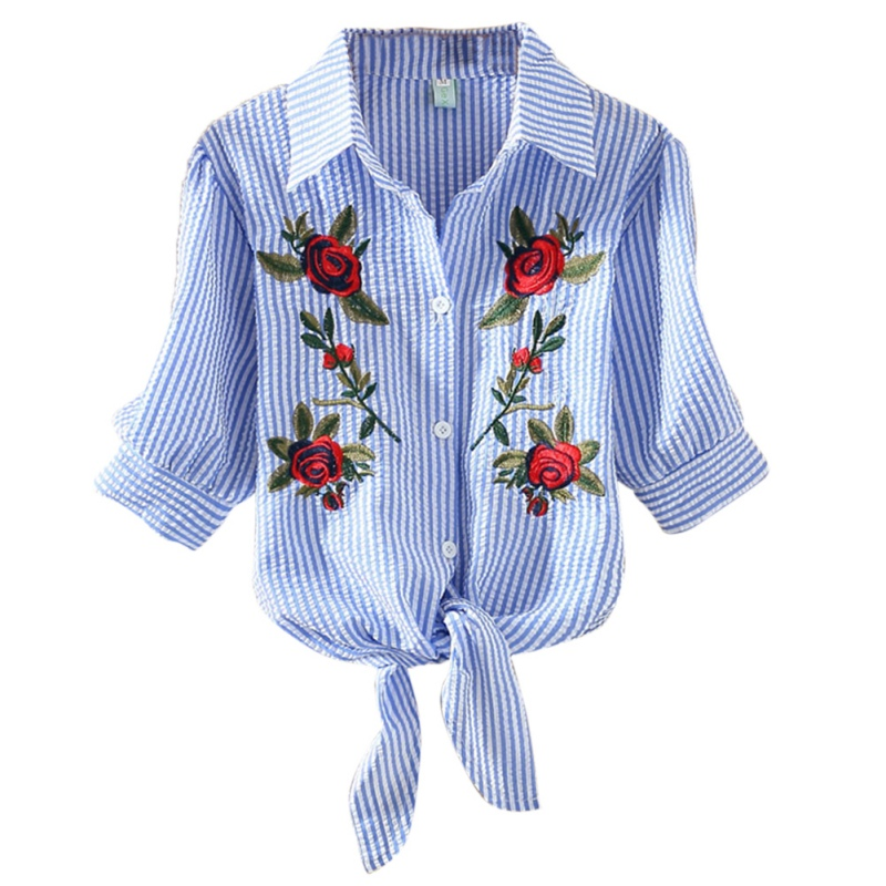 Embroidery Rose Blouse Tops Women Short Sleeve Blue White Striped Blouses Shirts blouse