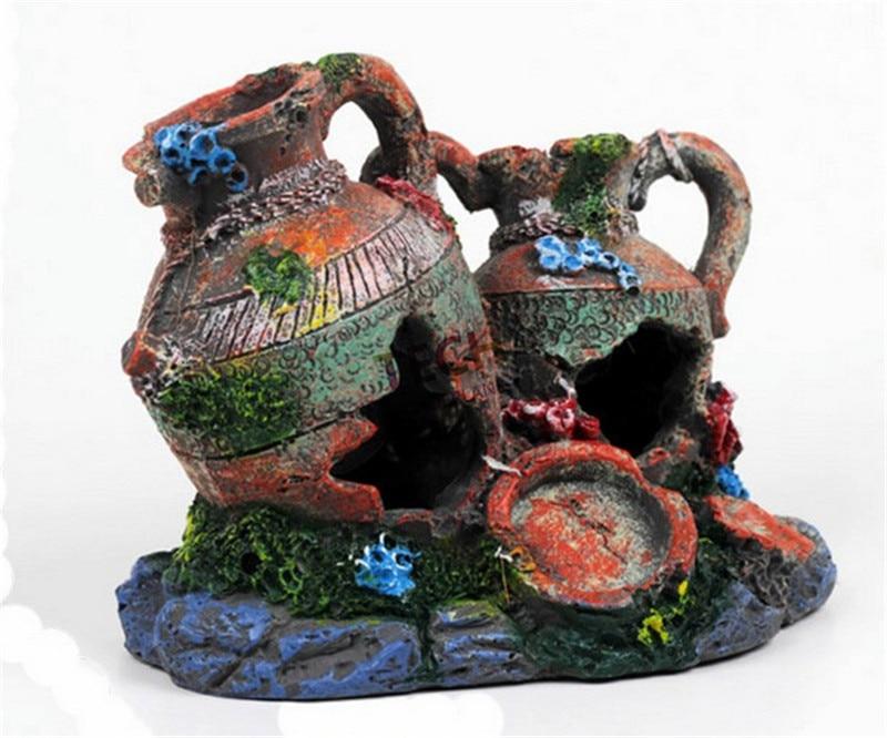 17*11*15cm Double Vase Greek Urn Fish Tank Ornament Aquarium Decoration Cave 1pc