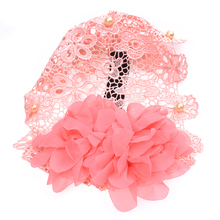Children Lace Flower Headband Hair Band Accessories Hats pink