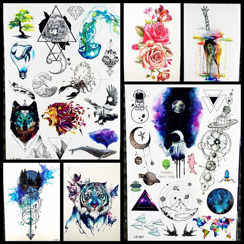 9058bb9c7f791 Geometric Lion Triangle Temporary Tattoo Women Lamp Bulb Whale Eagle  Jellyfish Scorpion Landscape Watercolor Wolf Tattoo