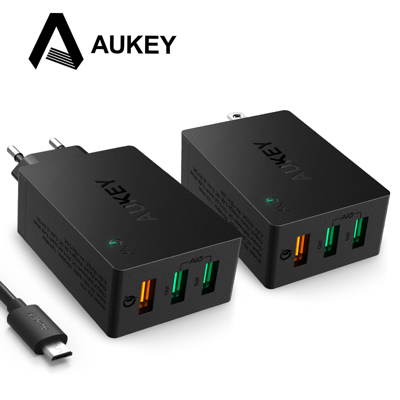 AUKEY carga rápida 3,0 3-Puerto USB cargador de pared con plegable Plug Micro USB Cable para LG Samsung Galaxy s7/S6/Edge Nexus iPhone