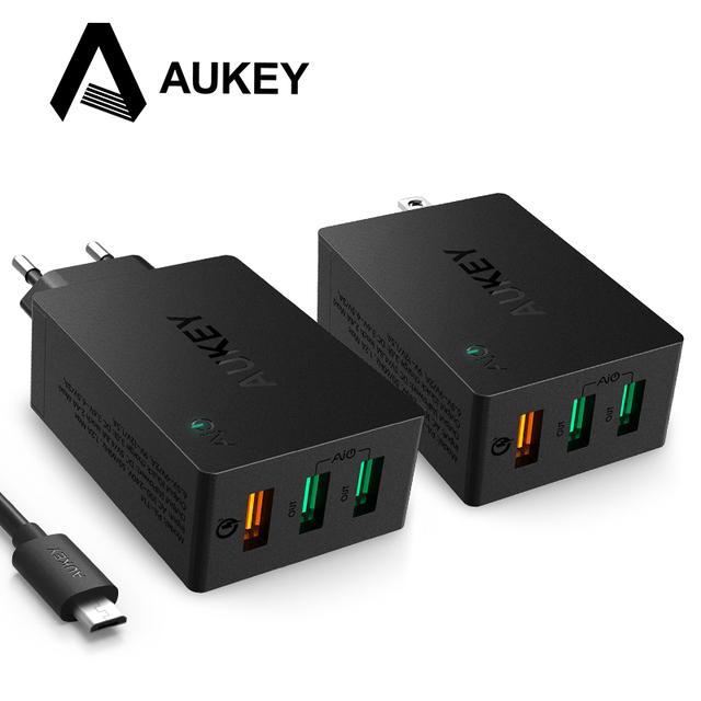 Aukey de carga rápida de 3.0 portas usb carregador de parede com dobrável plug & cabo microusb para lg samsung galaxy s7/s6/edge nexus iphone