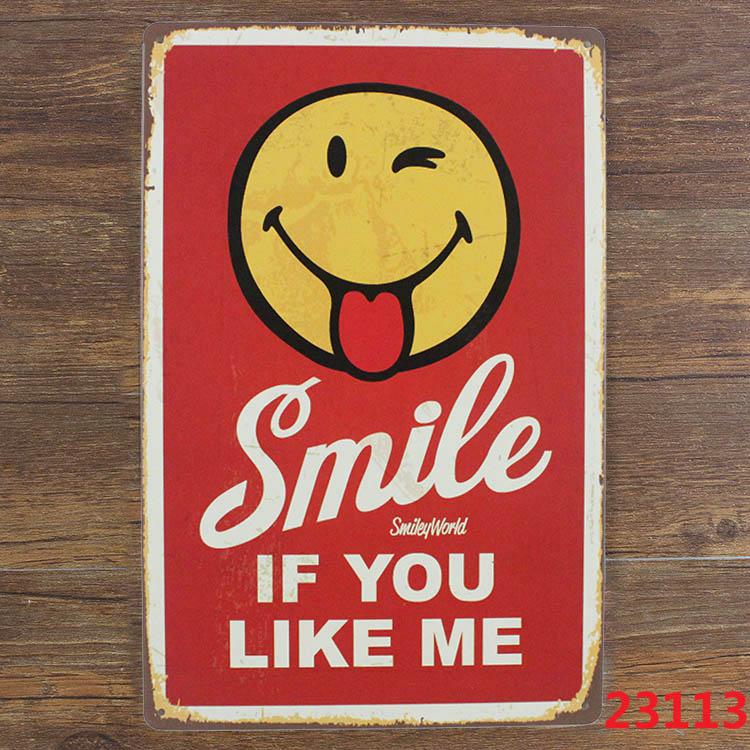SMILE IF YOU LIKE ME Vintage Tin Sign Bar pub home Wall Decor Retro Metal Poster American retro metal plates A-0425