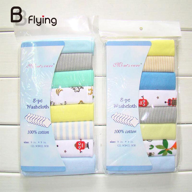 8Pcs/Pack 100% Cotton Newborn Baby Towels Toalha For Boys Washcloth Handkerchief
