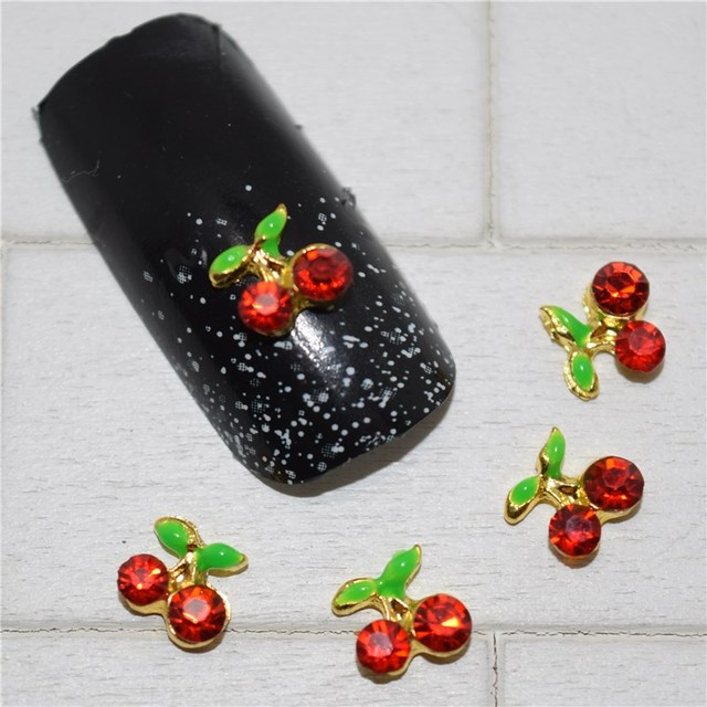 10psc New Cherry Red 3d Nail Art Decorationsalloy Nail Charmsnails