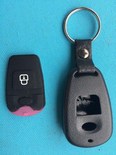1 pc nueva carcasa de llave de repuesto para Hyundai ELANTRA SANTA FE matriz ATOS TRAJET llave de alarma remota funda de goma NO botón logotipo