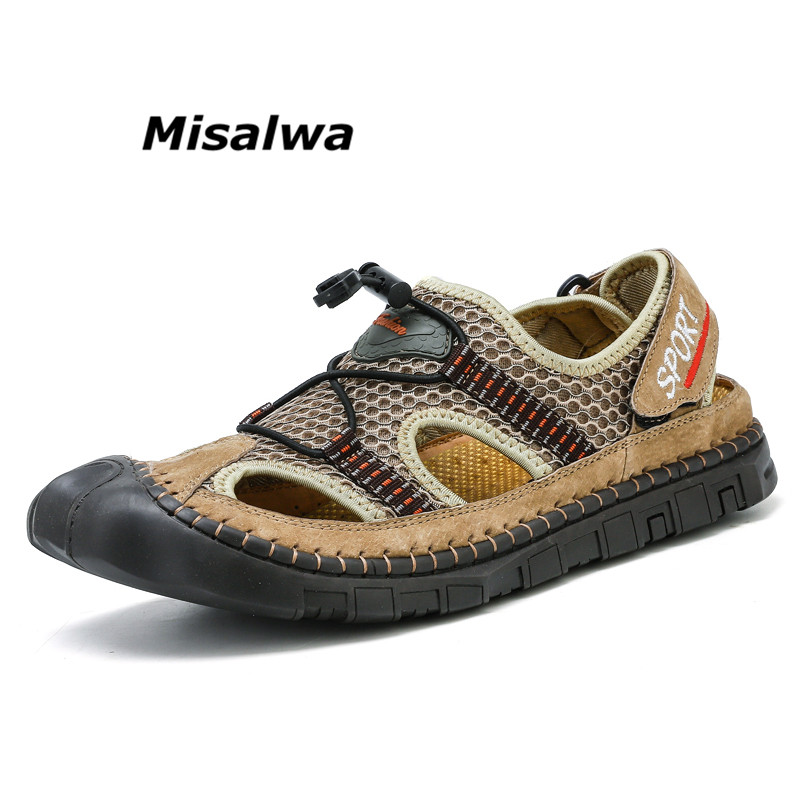 Misalwa Summer Men Mesh Sandals Breathable Net Cloth Casual Male Climbing Hikin Sneakers Beach Water Shoes