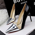 New Arrival European and American Style Sexy Pointed Toe Women Pumps Fashion Mixed Colors PU Leather Shallow High Heels Shoes