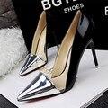 Nueva Llegada de Europeos y Americanos Estilo Sexy Punta estrecha Mujeres Bombas Moda Colores Mezclados Cuero de LA PU Superficial Zapatos de Tacones Altos