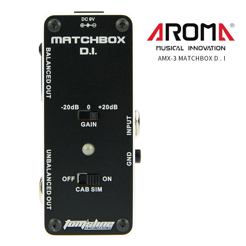 AROMA AMX-3 MATCHBOX D.I. Guitar Pedal Transfer Guitar Bass Signal to Audio System Mini Analogue Guitar Effect Pedal True Bypass agf 3 vintage germanium fuzz guita guitar effect pedal aroma mini analogue pedals with true bypass guitar parts aluminium alloy