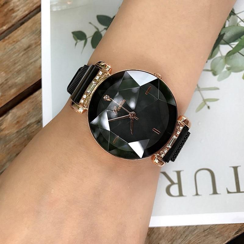 2019 reloj de lujo de mujer con hebilla magnética para mujer, relojes de moda para mujer, relojes de cuarzo de lujo de acero inoxidable para mujer