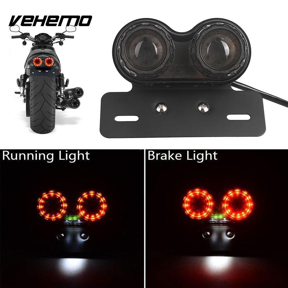 Vehemo DC 12V Dual LED Light Stop Motorcycle Light Generic Integrated Tail Light Twin Light Premium Brake