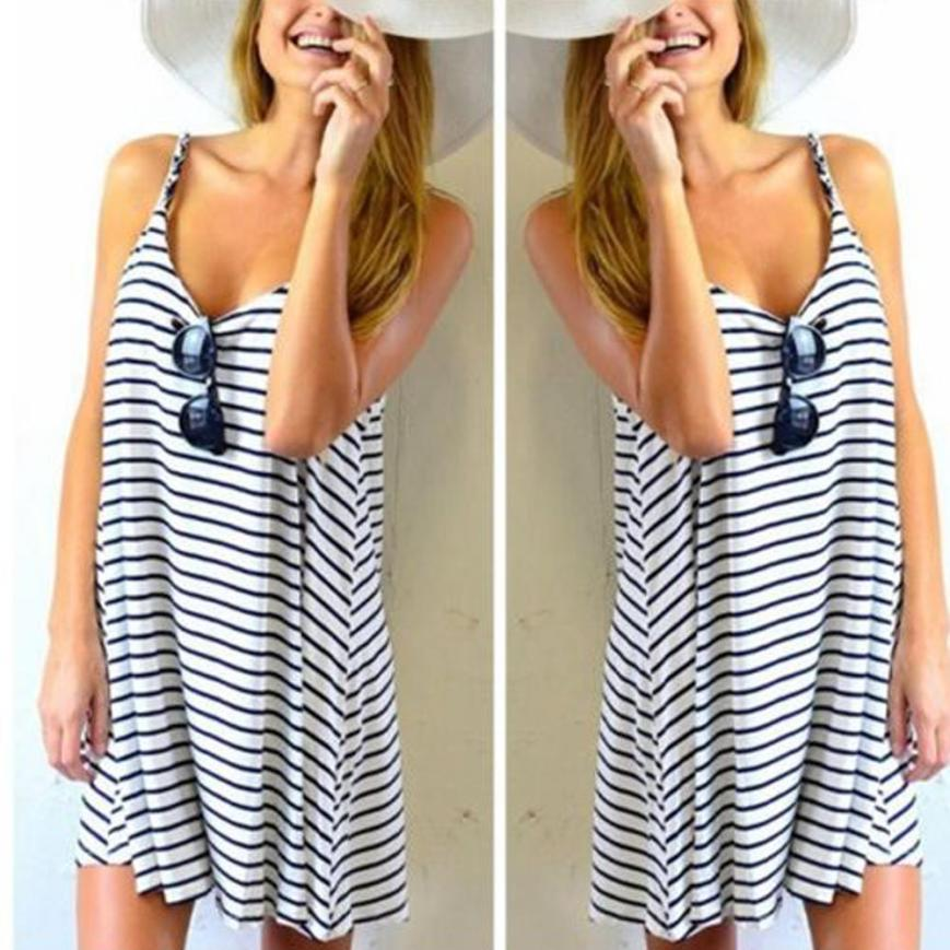 Factory Price Women Sleeveless Striped Loose Mini Dress Beach Party Casual Sundress body ...