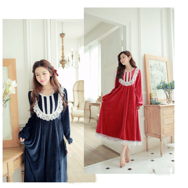b0a4831a2c Princess Skirt Home Dress Sexy Women Spring Robes Big Size Hightgowns  Long-sleeved Pajamas Lace Gownsets SleepShirts Onesies  ES