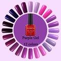 Hot! 12 colors Hot Sale Healthy and Eco-friendly Purple Gel Nail Polish Soak Off Gel Lucky 10ML UV Nail Varnish Gouserv