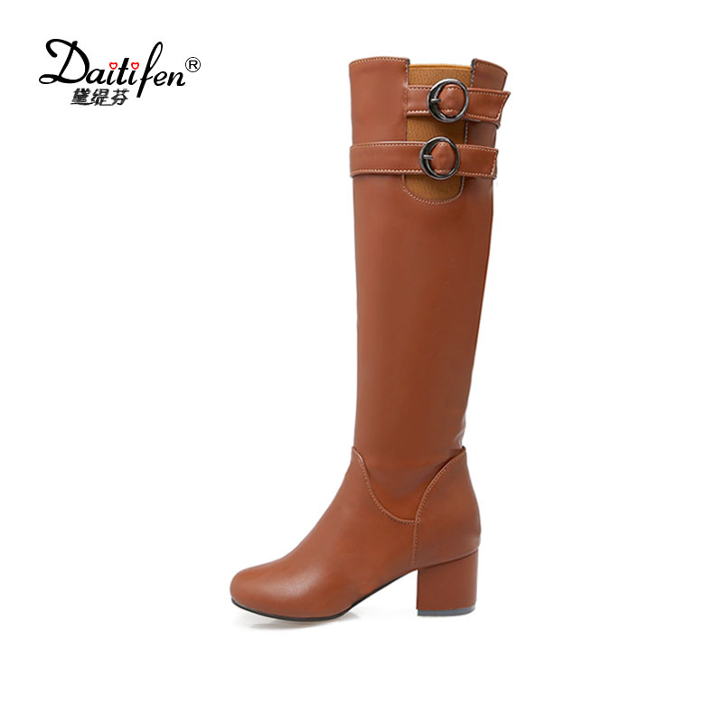 Daitifen 2017 Ladies fashion buckle winter knee high boots woman PU leather women black Brown winter shoes thigh high boots цена
