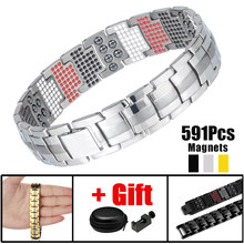 Energy Stones Health Energy Pure Titanium Bracelet High Power Magnet Bangle Germanium Powder Pain Relief for Arthritis (China)