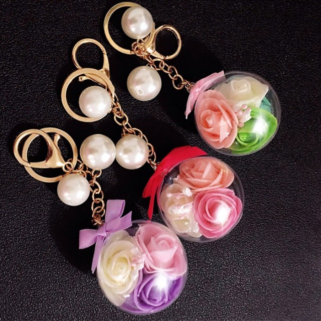 Women s Beautiful Unique 3 Rose Flower Transparent Ball Keychain Handbag  Ornaments Daily Crystal Key Ring Hanger 570d3548f4