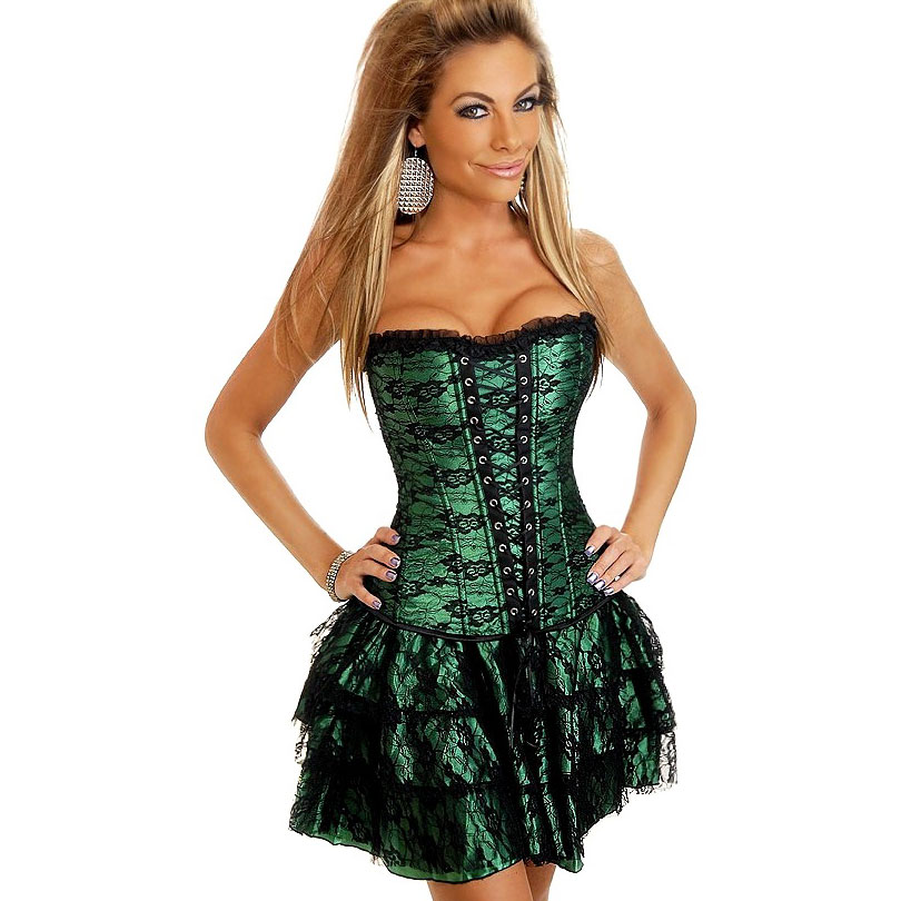 Shapers Hot Sale Lace Evening Corset Dress Green Red Sexy Women Corset And Bustier Plus Size Push Up Gothic Overbust Corsets