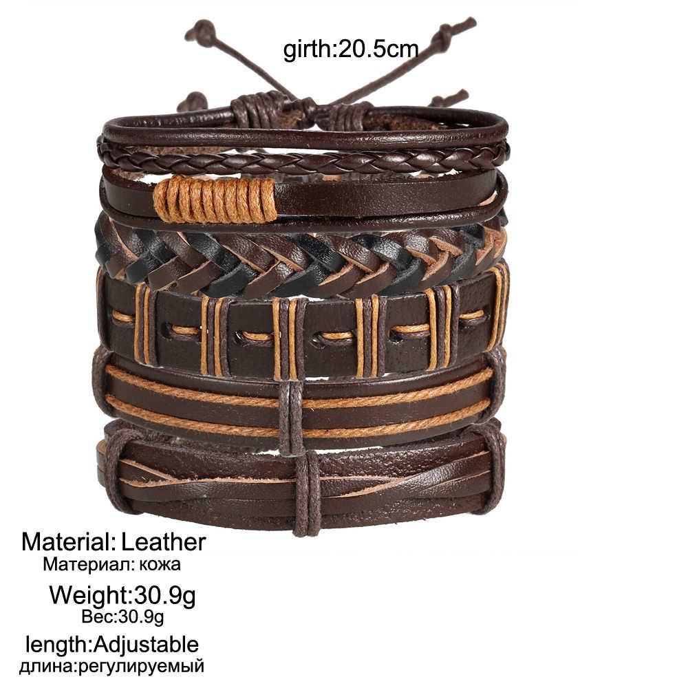 אם לי שחור חום צבע אמיתי קלוע עור צמידי לאישה גברים רב שכבתי צמיד בציר בעבודת יד צמיד תכשיטים