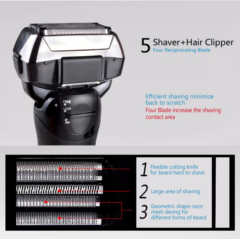 Image 5 - KEMEI Electric Shaver 4 Blade Reciprocating Razors Original Beard Shaving Machine LCD Display Waterproof Wet Dry Shaver D42-in Electric Shavers from Home Appliances
