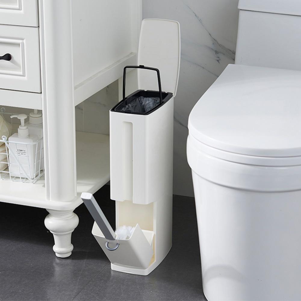 New 6L Narrow Plastic Trash Can Set with Toilet Brush Bathroom Waste Bin Dustbin Trash Cans Garbage Bucket Garbage Bag Dispenser|Waste Bins| |  - title=