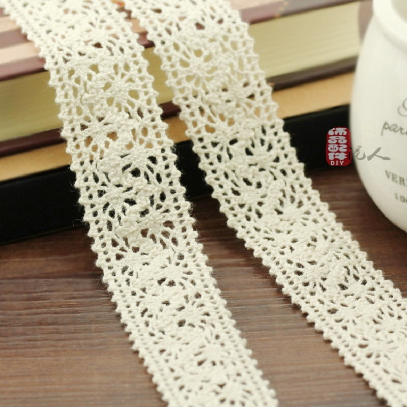High-quality  Diy Jewelry Accessories Wholesale 25MM Cotton Lace Beige Clothing Accessories Materials HB002 Hot Sale