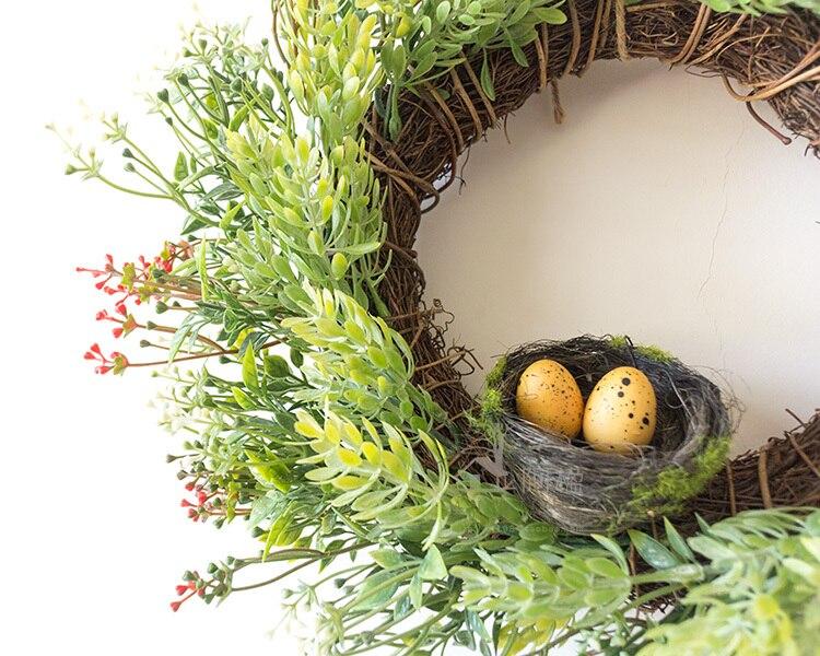 33 cm stro krans kunstplanten nest bruiloft decoratie opknoping trim