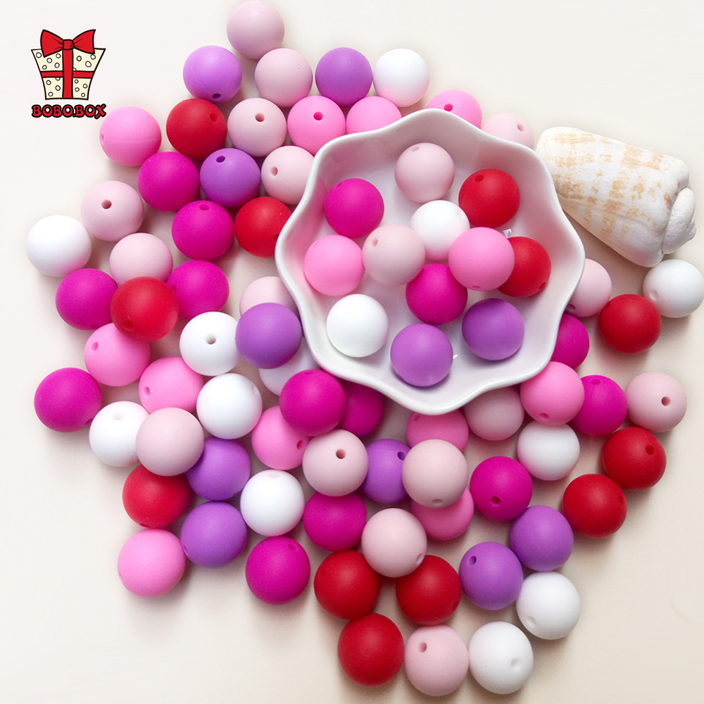 BOBO.BOX 10pcs Silicone Beads 9/12/15/19mm Food Grade Silicone Baby Teething Beads Chews Pacifier Chain Clips Beads Baby Teether