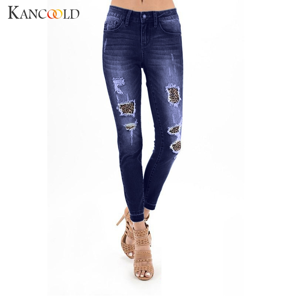 KANCOOLD jeans Women Autumn Elastic Shredded Leopard Print Spliced Jeans Denim Plus Pants Pants jeans woman 2018Oct26