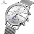 MEGIR Business Steel Watch Men Watches Brand Luxury Famous Chronograph Watches For Man Clcok Quartz-watch Relogio Masculino