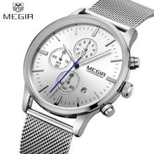 MEGIR Business Steel Watch Men Watches Brand Luxury Famous Chronograph Watches For Man Clcok Quartz-watch Relogio Masculino
