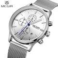 Megir reloj de acero de negocios hombres relojes de marca de lujo famoso clcok cuarzo cronógrafo relojes para hombre reloj relogio masculino