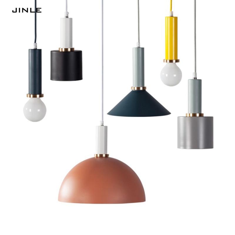 Nordic simple modern Iron art pendant lights 7 style 7 color Single head E27 LED lamp bedroom Parlor droplight free shipping