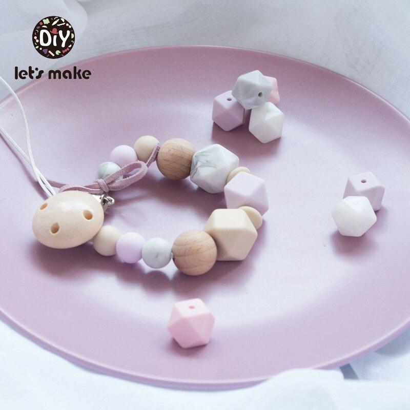Купить с кэшбэком Let's Make 10pcs Baby Teether 14mm Hexagon Bpa Free Silicone Beads Food Grade Teething Toys Diy Pacifier Chain Silicone Teethers