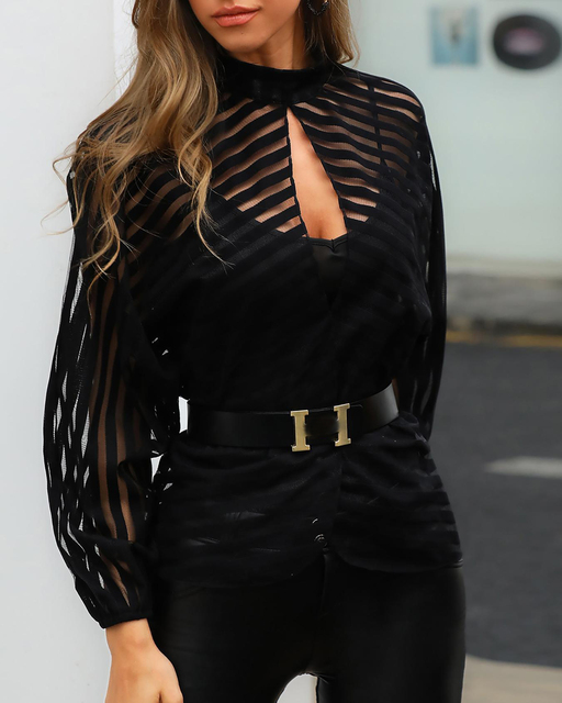Women Elegant Basic Black Casual Shirt Female Stylish OL Work Top Stripes Keyhole Front Mesh Blouse blusas mujer de moda 2019