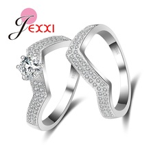 JEXXI New Arrival Luxury Bride Wedding Rings Set Irregular 925 Sterling Silver Cubic Zirconia Crystal Engagement Ring