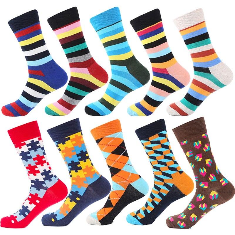 Cotton Men Women Happy Funny Stripes   Socks   Crew Pattern Hip Hop Art stripe   Socks   Long Short Casual Harajuku Novelty gifts Men