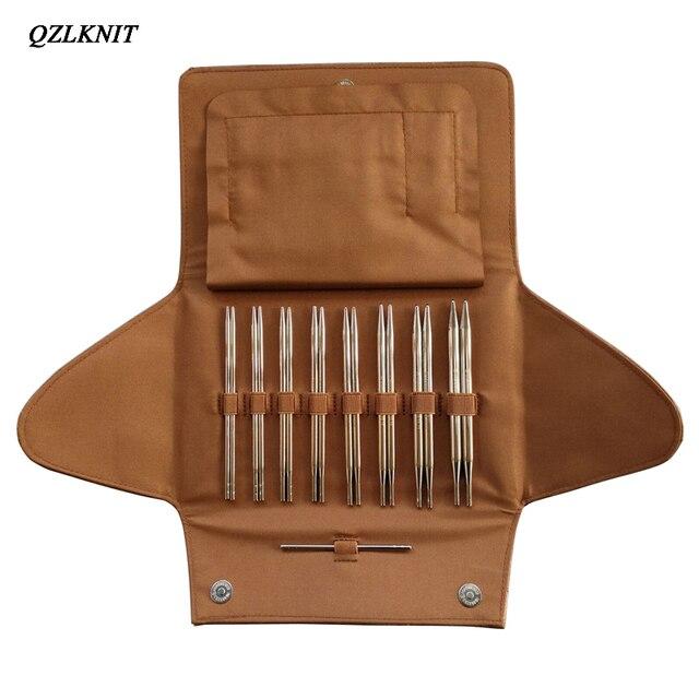 QZLKNIT 100cm,80cm y 60cm tubo de Nylon de alta calidad conjunto de agujas de tejer circulares intercambiables hilo DIY accesorios de punto