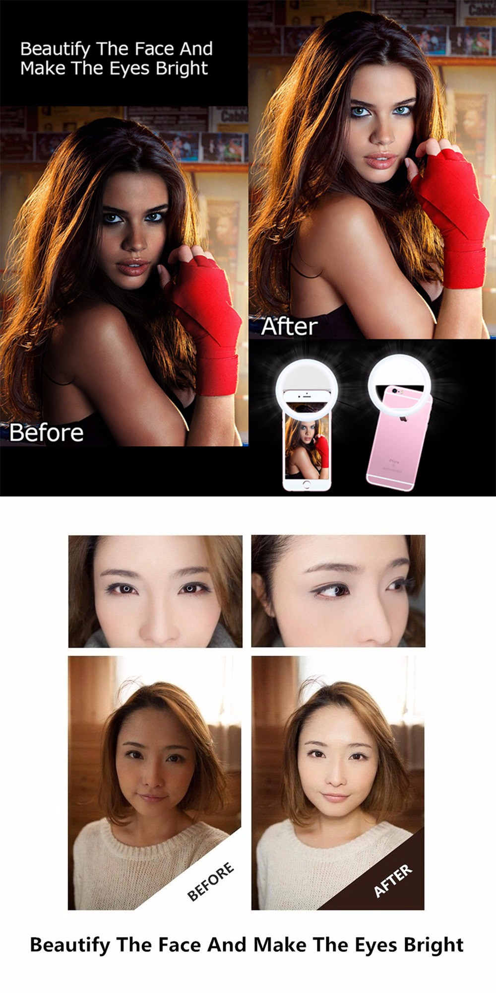 Practical and Portable Selfie Flash LED Phone Camera Ring Light For Apple Iphone Samsung HTC 11