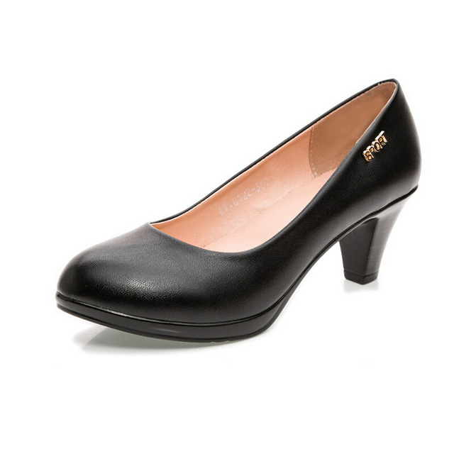 Charming Women Genuine Leather Pumps Female Office Shoes Cone Ruby Slipper Black High Heel Work